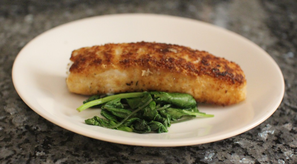 anchovies crusted fish fillet with sautéed greens